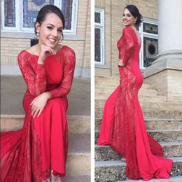 Wholesale elegant dressess - Elegant Evening Gowns Illusion Long Sleeves Red Evening Dressess Bateau Neck Zipper Up Lace Embellished Prom Dresses Mermaid Formal Gown