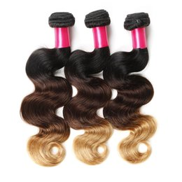 Wholesale Human Hair Extensions Body Weave - 8A Ombre Hair Extensions 1b 4 27 Blonde Ombre Virgin Human Hair 3Pcs 100g pcs Three Tone Body Wave Hair Weave Brazilian Peruvian Malaysian