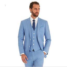 Wholesale Wedding Party Suit Vest - 2016 Slim Fit New Fashion Brand Wedding Party Sky Blue Tuxedo Business Men Suits ( jacket+Pants+vest+tie)