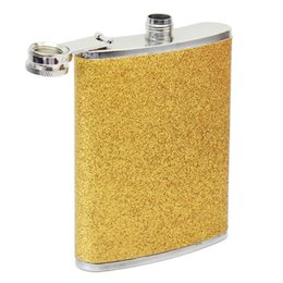 Wholesale Stainless Steel Wine Container - Wholesale-8oz Gold Tone Stainless Steel Hip Flask Alcohol Wine Liquid Whiskey Containers