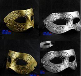 Wholesale Vintage Carnival Costumes - Costume Party Mask Men's retro Greco-Roman Gladiator masquerade masks Vintage Golden Silver Mask silver Carnival Mask Halloween HJIA867