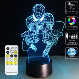 Wholesale Optical Tree - 2016 Spiderman Attact Lamp 3D Optical Lamp Night Light 7 RGB Lights Dimmable DC 5V AA Battery IR Remote Control Retail Box