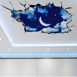 Wholesale Moon Wall Decal Bedroom - 3D Hole View Vivid sky Moon Ceiling Floor Wall Sticker Bedroom Living Room Bathroom Decoration Decals Art Sticker Wall Poster