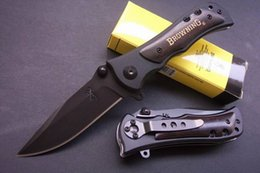 Wholesale Browning 339 Hunting Knife - Black Browning 339 Folding Tactical Knife 440C Blade Camping knife Pocket knives Utility Rescue Gift knife B219Q