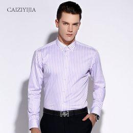 0db1bd105b10 Fashion 2016 Mens Purple White Striped Dress Shirts Long Sleeve Button-down  Slim Fit Cotton Non Iron Comfort Soft Casual Shirt