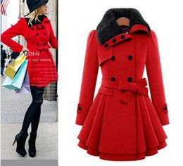 Wholesale Double Breasted Skirt Coat - 2016 Promotion Wool Overcoat Women's Clothes Slim Belt Double-breasted Lapel Neck Skirt Sweep for Ladies Outerwear Misses Coats S-xl