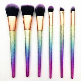 Wholesale Color Pigment Black - Yy Pigment 6pcs Makeup Brushes Fantasy Set Foundation Powder Eyeshadow Kits Gradient Color Make Up Brush Set Tools