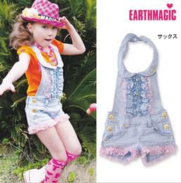 Wholesale Korean Girls Straight Dress - 2016 Spring Summer Girls Sleeveless Suspender Shorts Denim Polka Dots Leisure Girl Dresses Kids Korean Children Clothing KB431