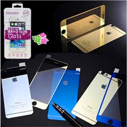Wholesale Iphone 4s Chrome Screen - iPhone 7 2.5D 9H Color Chrome Plating Tempered Glass Screen Protector Mirrow Glass Film For iPhone 4s 5s 6s 6 plus 7 plus With Package