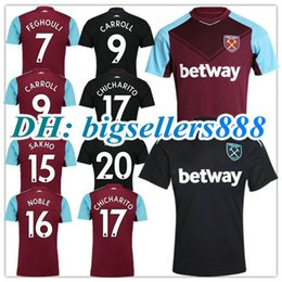 Wholesale West Home - TOP QUALITY 17 18 West Ham United home soccer jersey FEGHOULI CARROLL SAKHO AYEW PAYET CHICHARITO 2017 2018 away black football shirts