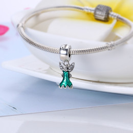 Wholesale Enamel Beads Dangle Charm - Real 925 Sterling Silver Tinker Bell's Dress Dangle Charm, Glittering Green Enamel Fit Original Bracelet Diy Jewelry Making