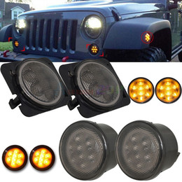 Wholesale Fender Flares - 4pcs Black LED Front Fender Flares Turn Signal Light LED Side Marker Lamp For Jeep Wrangler JK 2007~2015 Amber