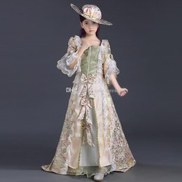 vêtements les plus récents Promotion 2017 les plus récents Enfants rose imprimé dentelle victorienne médiévale Girl Party Robes Girls Renaissance Reenactment Theatre Clothing