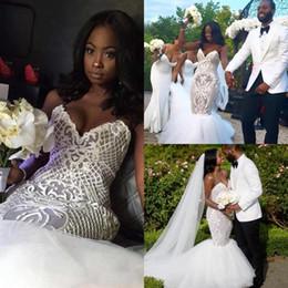 vestidos de casamento saia de pétala Desconto Sexy país africano plus size 2017 sereia vestidos de noiva querida sem mangas zipper com petla power apliques de tule em camadas saias vestido