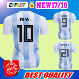 Wholesale Argentina Messi Jersey - 2018 world cup Argentina Soccer Jersey 2018 Argentina Home Blue soccer Shirt Messi Aguero Di Maria football uniform