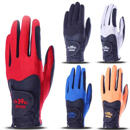 Wholesale mens golf xl - New Mens fit 39 Golf Gloves High quality PU Sports Gloves Single hand sport gloves 5 color in choice Golf equipment free shipping