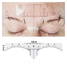 Wholesale Eye Stencils - 10 pcs disposable Semi Permanent Eyebrow Ruler Makeup Eye Brow Measure Tool Eyebrow Guide Ruler Microblading