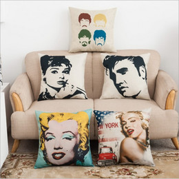 Wholesale Marilyn Monroe Throw - 45cm*45cm Marilyn Monroe Square Cotton Linen Cushion Cover Sofa Decorative Throw Pillow Covers Hepburn Stars Home Chair Car Seat Pillow Case
