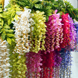 Wholesale Hanging Flowers String - 12 pieces lot Artificial Wisteria Flowers 110cm Emulation String Bean Curd Hanging Rattan Simulation Flower DIY Home Decor .D177
