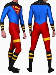 Wholesale Spandex Body Suit Costume - Full Body Lycra Spandex Skin Suit Catsuit Party Costumes Superboy Zentai Halloween parties role playing