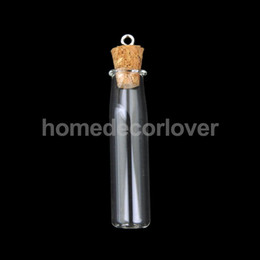 Wholesale Vial Glass Pendant Tube Bottle - Wholesale- 10 Mini Cork Stopper Tube Glass Vials Jars Charm Memory Wish Bottle Pendant