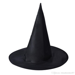 Wholesale Halloween Black Witch Hat - 20pc 2016 Cool Adult Women Black Witch Hat For Halloween Costume Accessory Hot Sale Costume Party Props Free Shipping