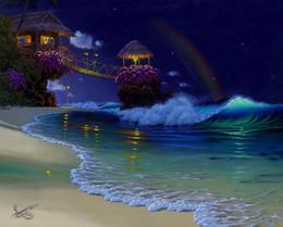 Wholesale Rainbow Canvas Art - Al Hogue Rainbow Moon HD Art Print Original Oil Painting on Canvas high quality Home Wall Decor,Multi size,Free Shipping,Framed