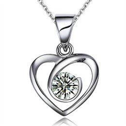 Wholesale Heart Shaped Ornaments - Luxury Ladys Girls heart shaped Diamond Pendant jewelry Plate silver Party Romantic Gift Ornament with Necklace and Retail box Free shipping