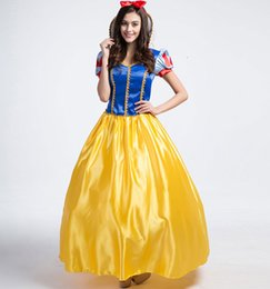Wholesale Princess Costume Woman Plus Size - Plus Size Snow White Costume For Girls Fairy Tale Cinderella Princess Long Dress Halloween Cosplay Party Dancing Clothing