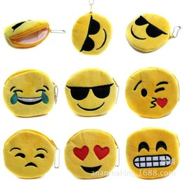 Wholesale Cheap Keychains Women - FREE SHIPPING 24pcs lot 2016 New Cheap Emoji Coin Purse Cute Mini Cotton Wallet Keychains Keyrings for Girls