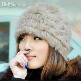 Wholesale Rabbit Ball Hats - Wholesale-2015 New Women Fluffy Russian Cossack Rabbit Fur Knit Hat Ski Knitted Cap Winter Warm