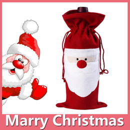 Wholesale Bag Cover Table - Christmas Santa Wine Bottle Bag Red Wine Bottle Cover Bags Merry Xmas Dinner Party Decor Table Christmas Decorations DHL Free 161014