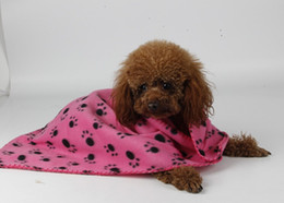 Wholesale Dog Paw Fleece Blanket - 50pcs Cute Design Paw Print Soft Warm Fleece Pet Blanket Dog Cat Mat Puppy Bed Sofa