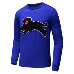 Wholesale Cat Sweater Xl - Autumn and winter high quality cashmere men sweater embroidery decoration fashion sweater black cat Stitching t shirt