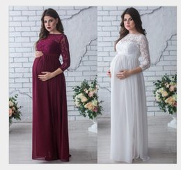 Wholesale Holiday Photography - 2018 Photography maternity lace dress Long Sleeve photo shooting props Lady's maternity gowns pregnant wedding party holiday dresses hotsale