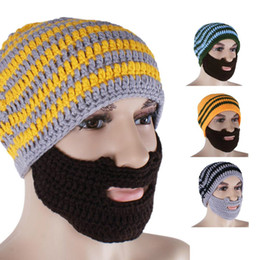 Wholesale Cool Mens Winter Hats - 2016 Mens Fashion Color Cool Punk Warm Winter Knit Crochet Beard Beanie Mustache Face Mask Ski Snow Warmer Hat Cap Free Shipping