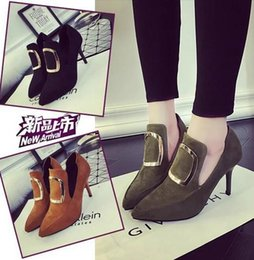 Wholesale Hunter Winter Boot - Autumn and winter women's velvet suede thin with high-heeled shoes, metal side buckle boots and bare boots shallow mouth