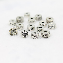 Wholesale Metal Stopper Beads - DIY bracelet stopper beads ancient silver plated alloy buckle Beads Fit Charm Bracelet Mixed 100pcs lot