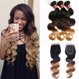 Wholesale Now Body Wave - Peruvian Hair Weave 1B 4 27 Ombre Body Wave 3 Bundles Hair Wefts With Closure Double Drawn Remy Hair 6A Premium Now Hair