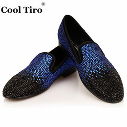 Wholesale Ivory Crystal Wedding Shoes - Black Blue Rhinestones Men Loafers Strass Crystal Slippers Suede Wedding Dress Shoes Flats Genuine Leather Casual Shoes italian loafers