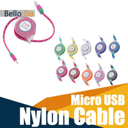 Wholesale Retractable Sync Cable - Micro USB flat Cable Retractable Woven Fabric Braided Nylon USB Sync Data Charger cord for HUAWEI XIAOMI SAMSUNG S4 S6