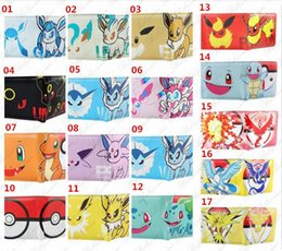 Wholesale Pokemon Coins - New Poke Wallets purse Poke Go wallets 17 Styles Poke Figures Wallets Card Holder Cartoon students wallets Poke Coin Bags Xmas Gift D688
