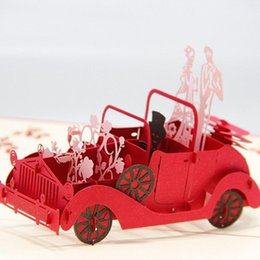 Wholesale Handmade Lover Greetings - Nice New 2D Handmade Card Greeting Cards Red 2D Wedding Carriage with Lovers Personalized Handmade 2D Greeting Cards POP UP Cards
