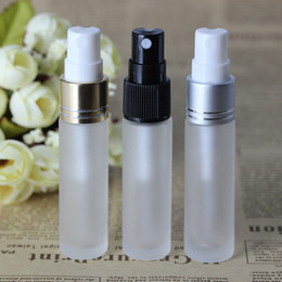 Wholesale Silver Vial - High End Quality 10ml Frosted Glass Perfume Sample Vials with 3 Colors Atomizer 10 ml Empty Spray Bottle Gold Black Silver Lids