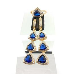 Wholesale Quartz Blue Topaz Earrings - Water Drop Deep Blue Garnet White Topaz 925 Silver Jewelry Sets For Women Earrings Rings Size 7 8 9 Free Gift Box
