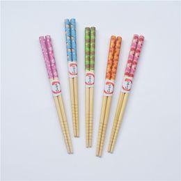 Wholesale Chopstick Bamboo - Bamboo Chopsticks 18cm Printing Children's Chopsticks Popular Tableware MOQ:100 Pair