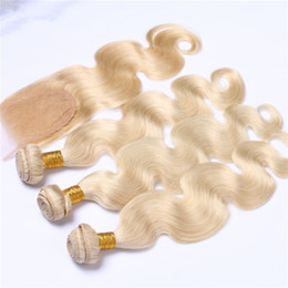 Wholesale Platinum Parts - 613 Blonde Hair With Closure 4Pcs Lot Human Hair Body Wave Platinum Blonde Hair Bundles With Middle Free Three Way Part Lace Closure