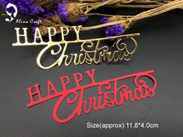 Wholesale Paper Cutting Christmas Greeting Card - METAL CUTTING DIES cut alphabet letters Happy Christmas greeting Scrapbook card PAPER CRAFT card embossing template punch