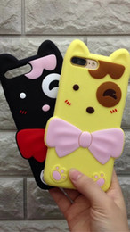 Wholesale Iphone 3d Skin - 3D Cute Cat Bowknot Soft Silicone Case For IPhone 7 Plus 5.5 6 6S 4.7 Lovely Rubber Gel Animal Cartoon Cell Phone Smile Back Skin Cover
