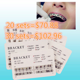 Wholesale Ship Dental Material - 10 Sets Dental Metal Bracket dental bracket brace 20pcs set Dental material OrthodonticBraces MINI ROTH 022 3-4-5 Hooks New Free Shipping